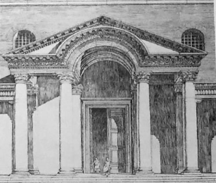 Scheineder'in II. Ayasofya Bazilikası anıtsal kapısının canlandırma